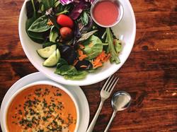 Salad and Tomato Soup