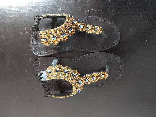 Leather and Bead Sandals Tanzania - gold