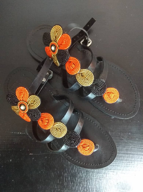 Leather and Bead Sandals Tanzania -OG