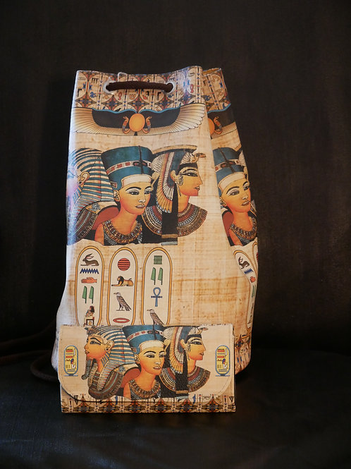 Egyptian Leather backpack and clutch wallet combo - Nefertiri
