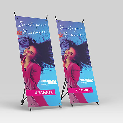 Display X-Banner com lona impressa