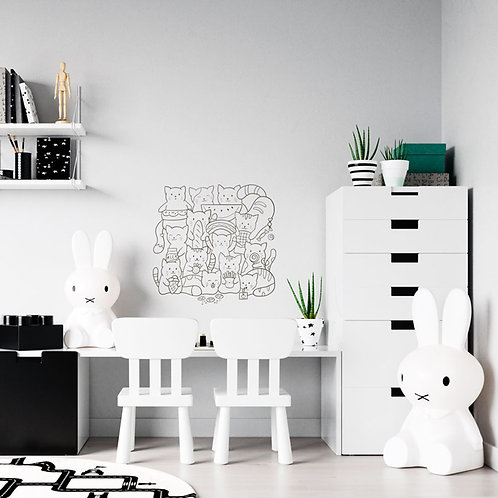 Gatinhos num quadrado Ilustração - Vinil Decorativo