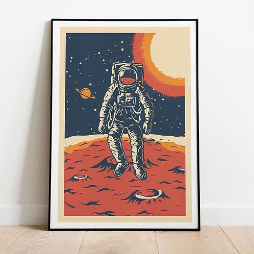 Space Men Vintage Poster