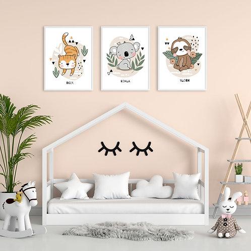 Ilustrações de Tigre, Koala ou Preguiça