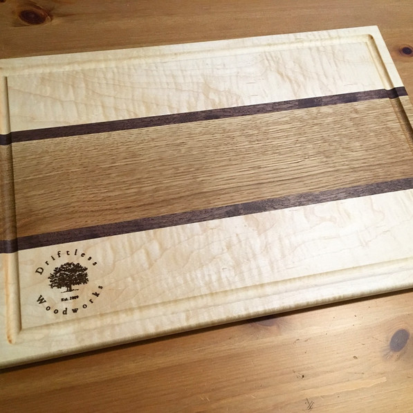 Tiger Maple & White Oak Cutting Board