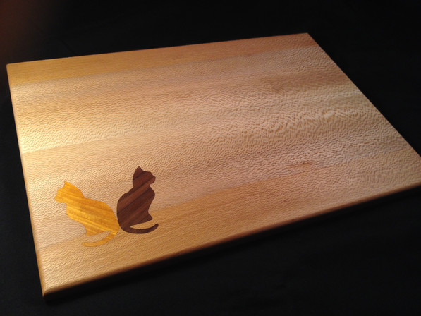 Two Cats Inlay Cutting Board
