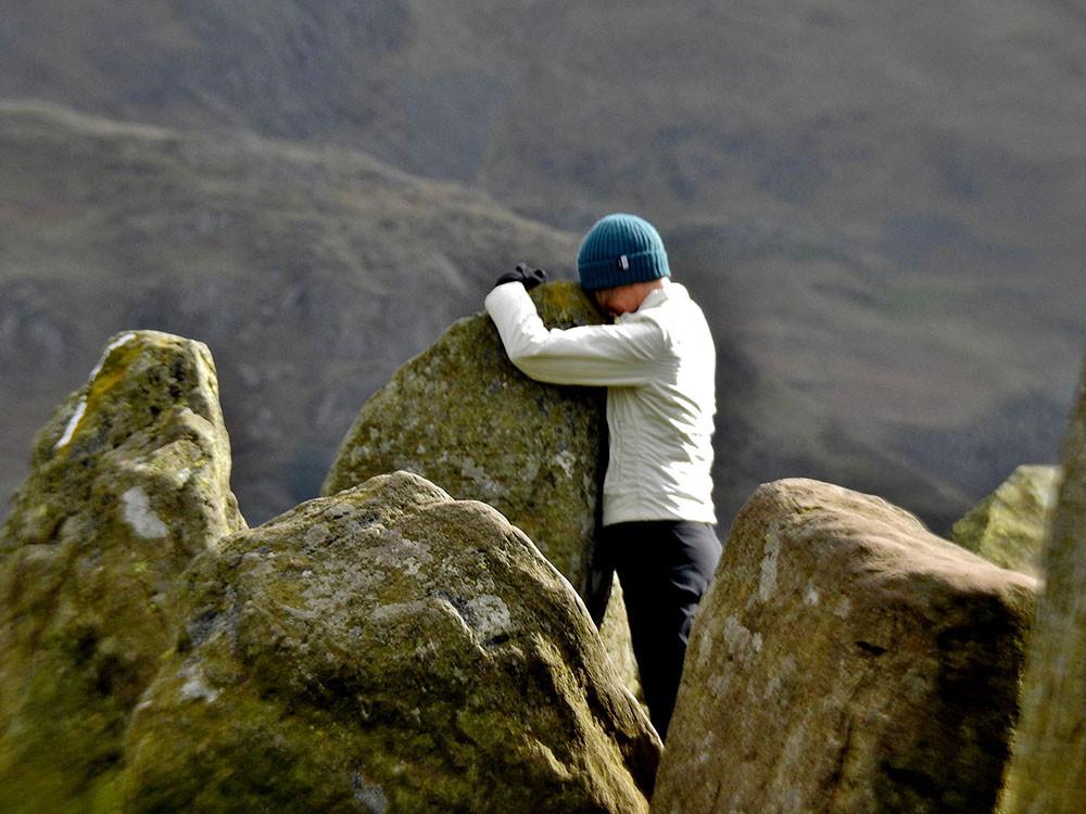 Hugging the stones