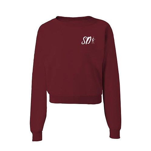 SD Cropped Crewneck Maroon Sweater