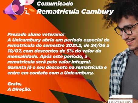 Comunicado - Rematrícula Cambury 2021.2