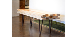 Bench with custom hairpin legs