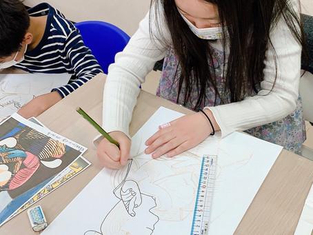アートコンテンツ ピカソの作品「座る女」をまねして描いてみよう【前編】