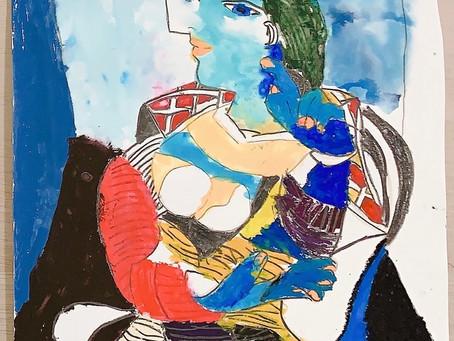 アートコンテンツ ピカソの作品「座る女」をまねして描いてみよう【後編】
