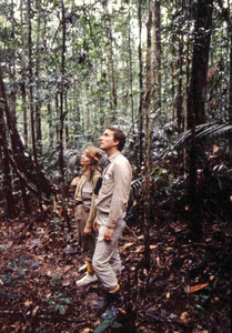 In the Amazon in the 1980s, with Mary O'Grady of the WWF