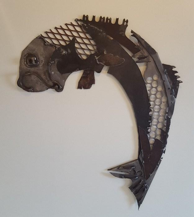 """Hooked"" Metal Fish"