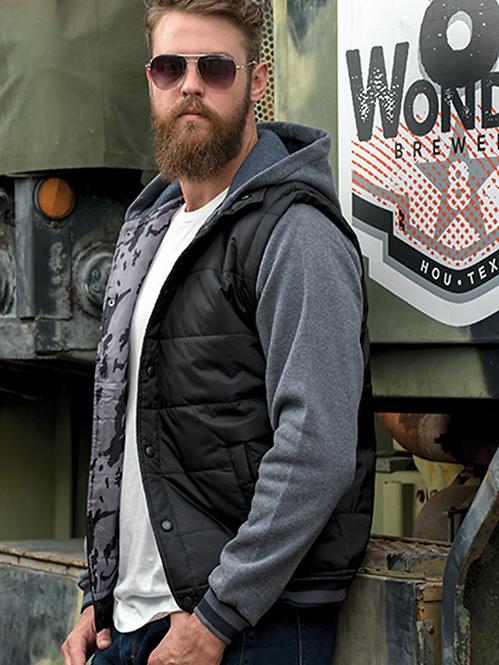 Hooded Fleece Sleeved Puffer Vest