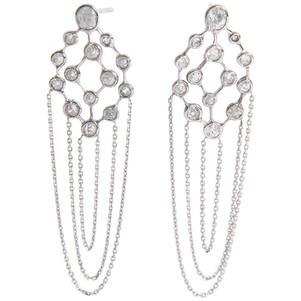 Boucles d'oreilles en or blanc 18 carat, brillants et chaines Marion Jeantet