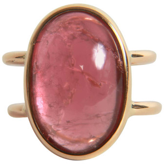 Pink Tourmaline Cabochon Ring Created by Marion Jeantet