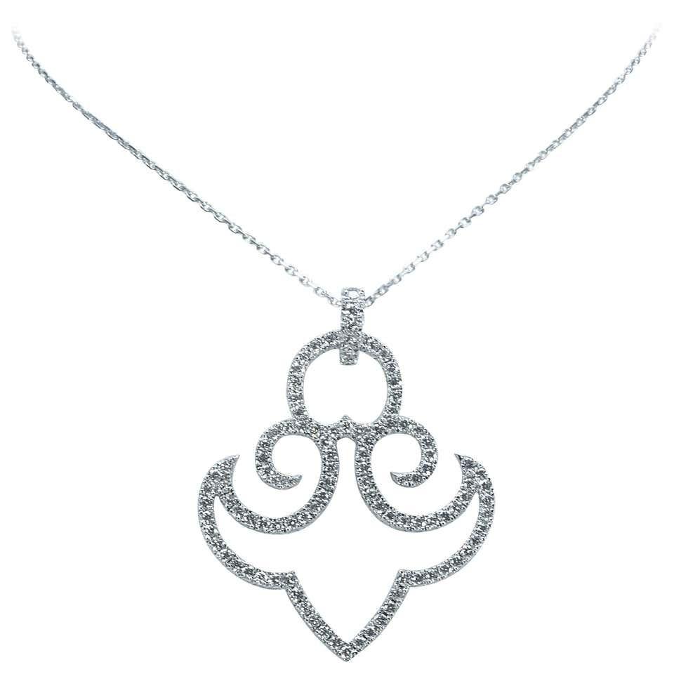 Pendentif Ancre en or blancs 18 carats et pavage brillants (1,75 carats) Marion jeantet