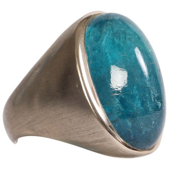 Blue Tourmaline Cabochon Ring by Marion Jeantet
