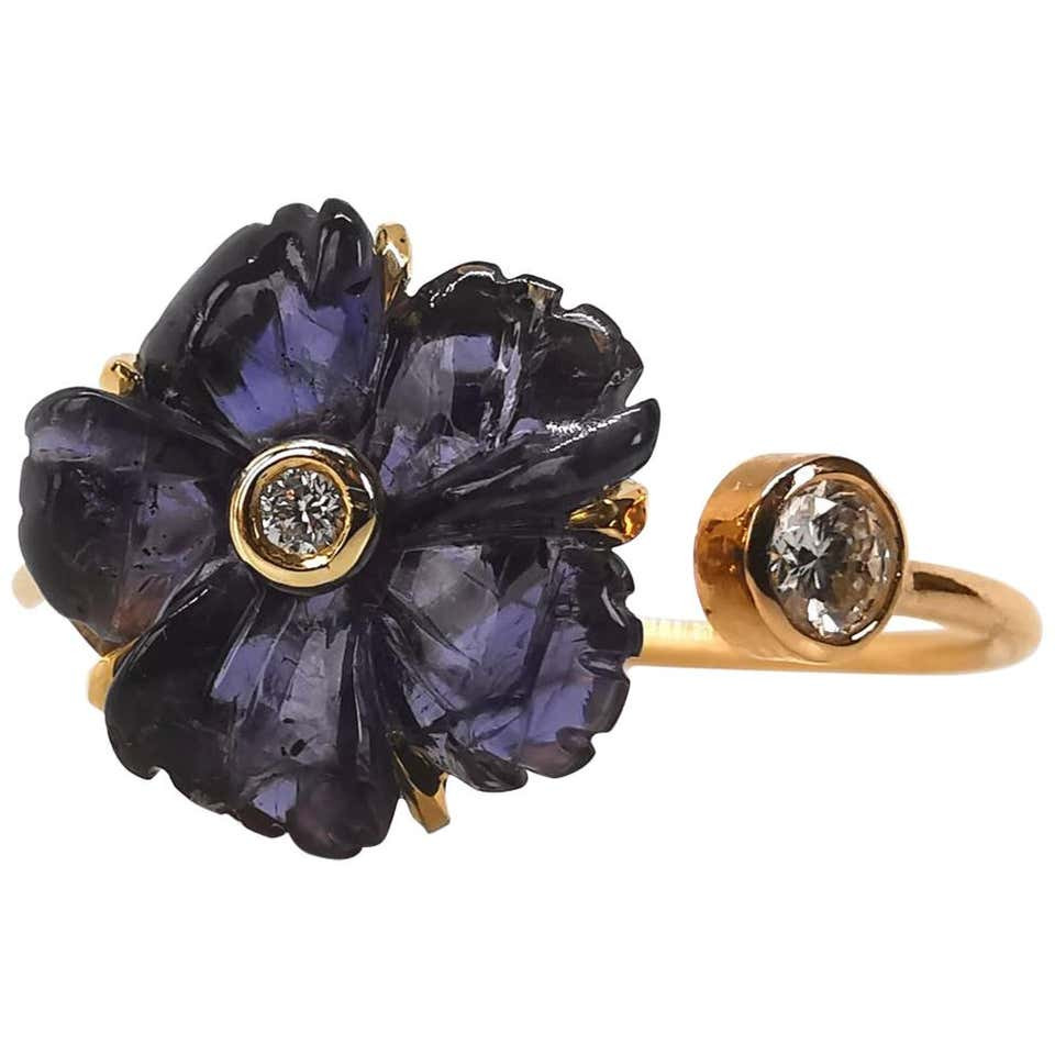Iolite and Diamonds You and Me Ring Created by Marion Jeantet