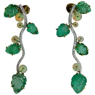 Engraved Emerald Leaves, Opals Beads and Diamonds Earrings by Marion Jeantet