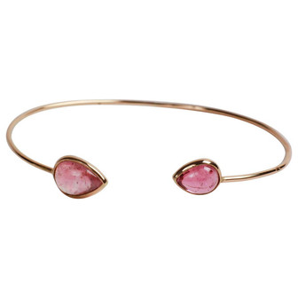 Yellow Gold Bangle Bracelets Set with Two Pears Tourmalines by Marion Jeantet