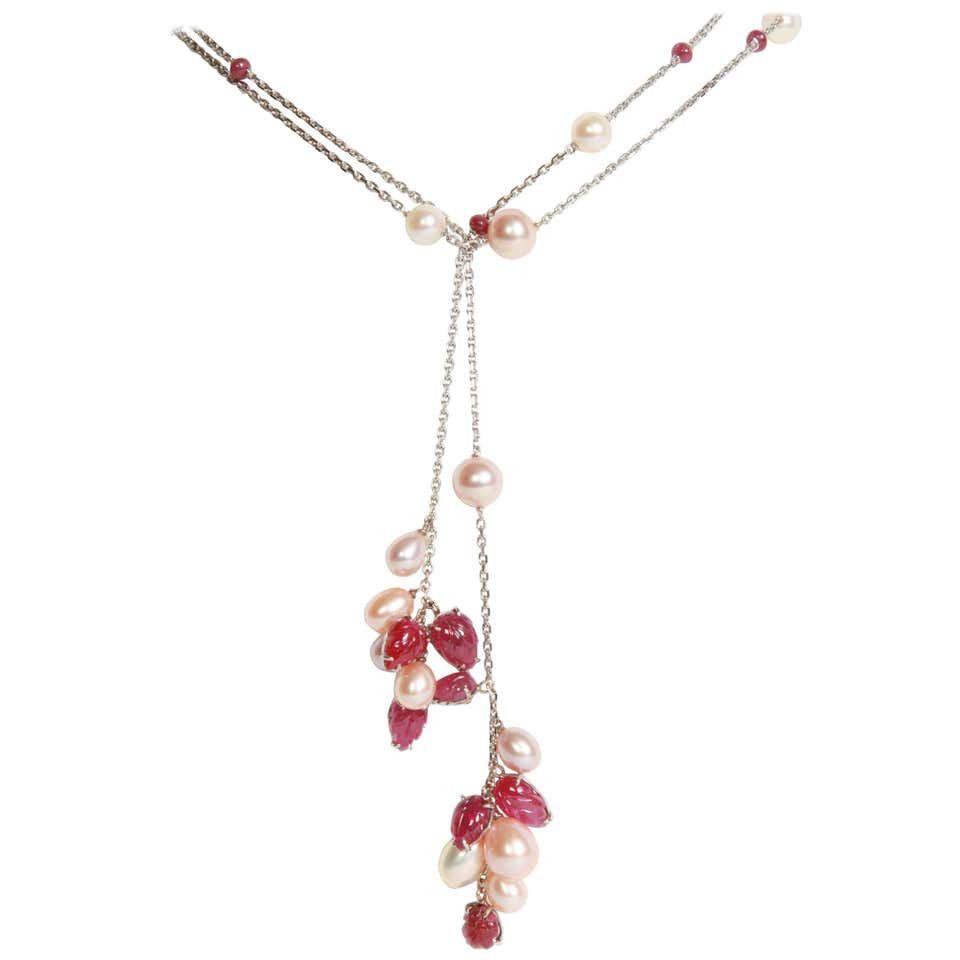 Engraved Rubies and Pearls on a Long White Gold Chain by Marion Jeantet