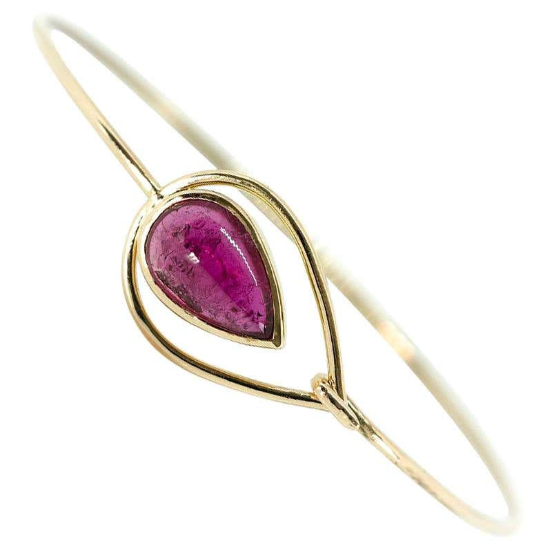 Pink Peacock Bangle Bracelet Created by Marion Jeantet