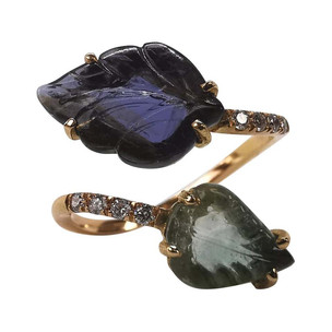 Engraved Iolite and Blue Tourmaline You and Me Leaves Ring by Marion Jeantet
