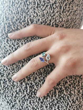 BAGUE LAETITIA OR BLANC 18 CARATS