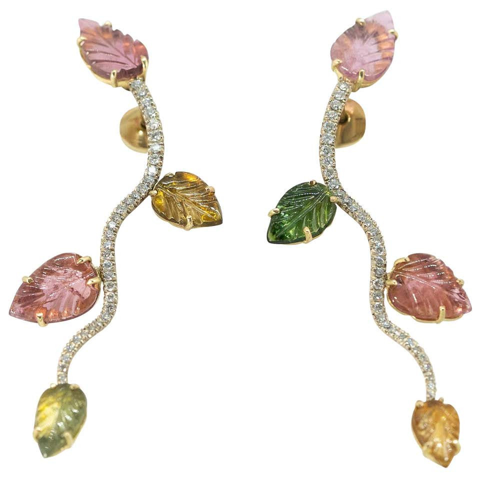 Engraved Tourmaline Leaves Earrings Created by Marion Jeantet