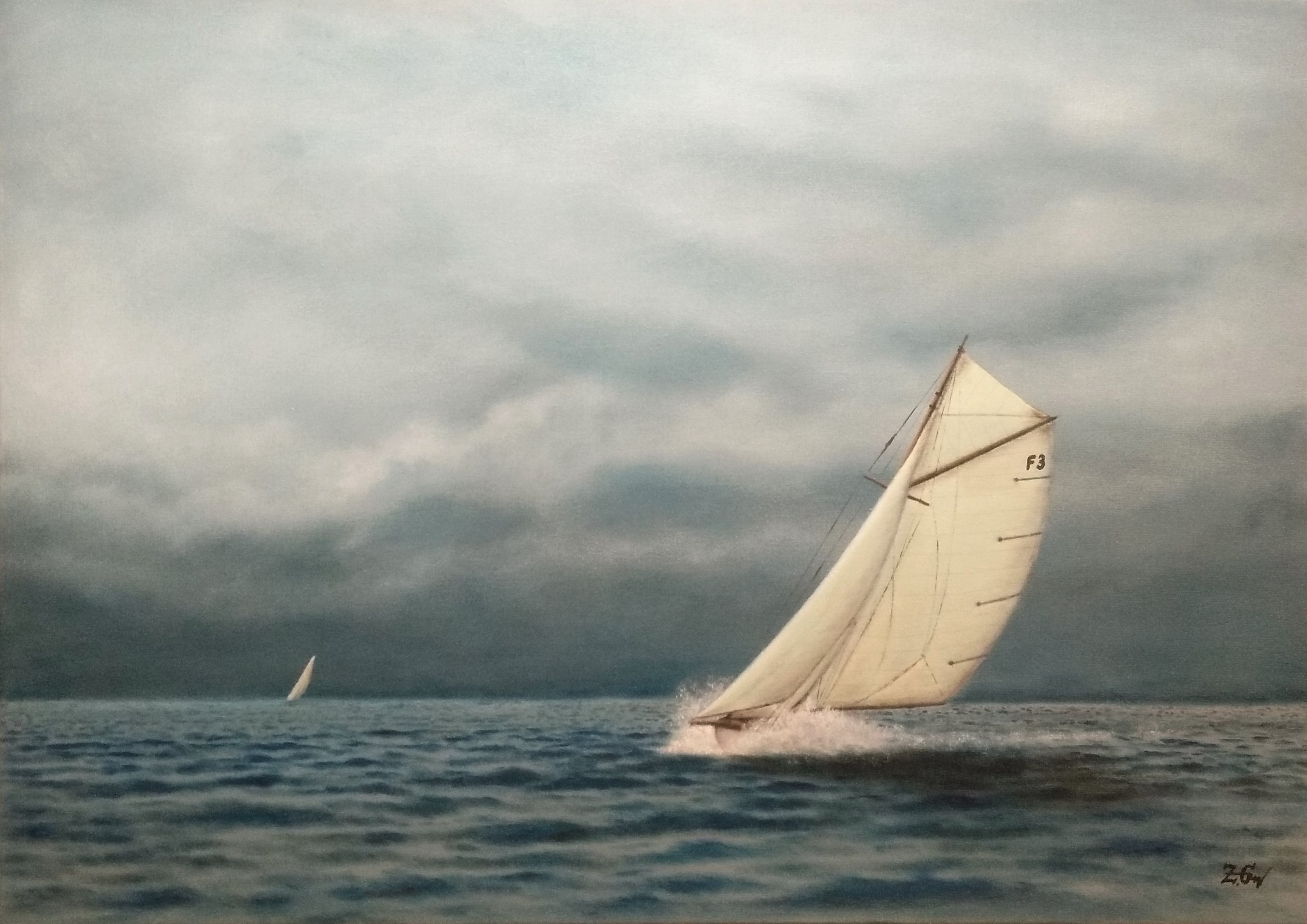 ''Vintage yacht in action N.2.''