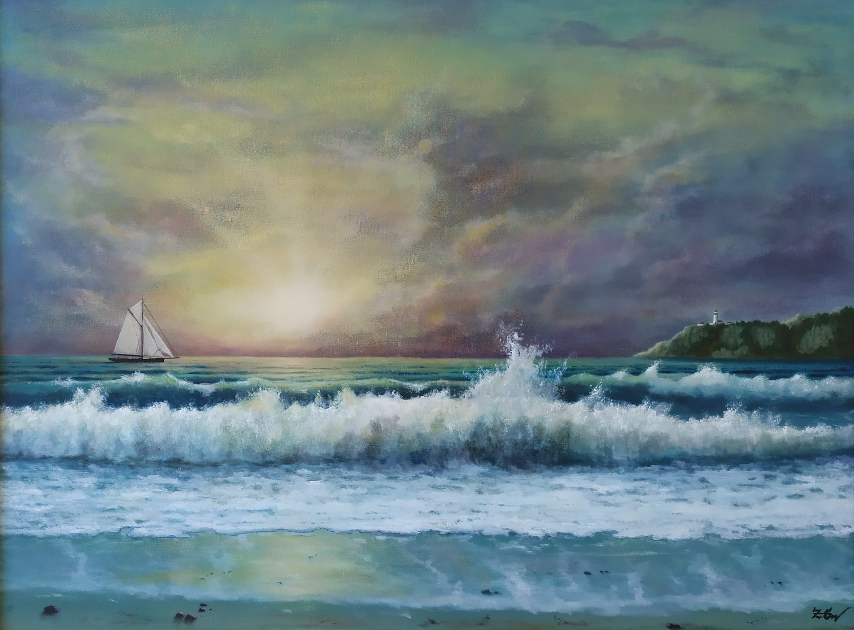 ''Evening mood with playful waves''