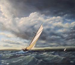 ''Vintage yacht in action N.3''