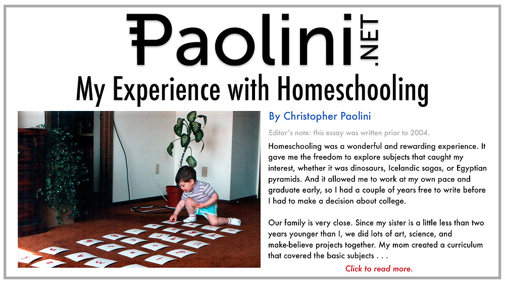 Christopher Paolini, homeschooling, Paolini.net