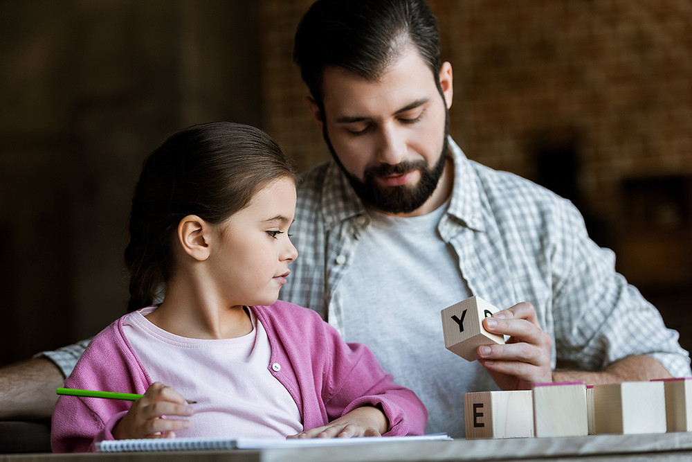 father, daughter, learning, reading, letters, Paolini Method