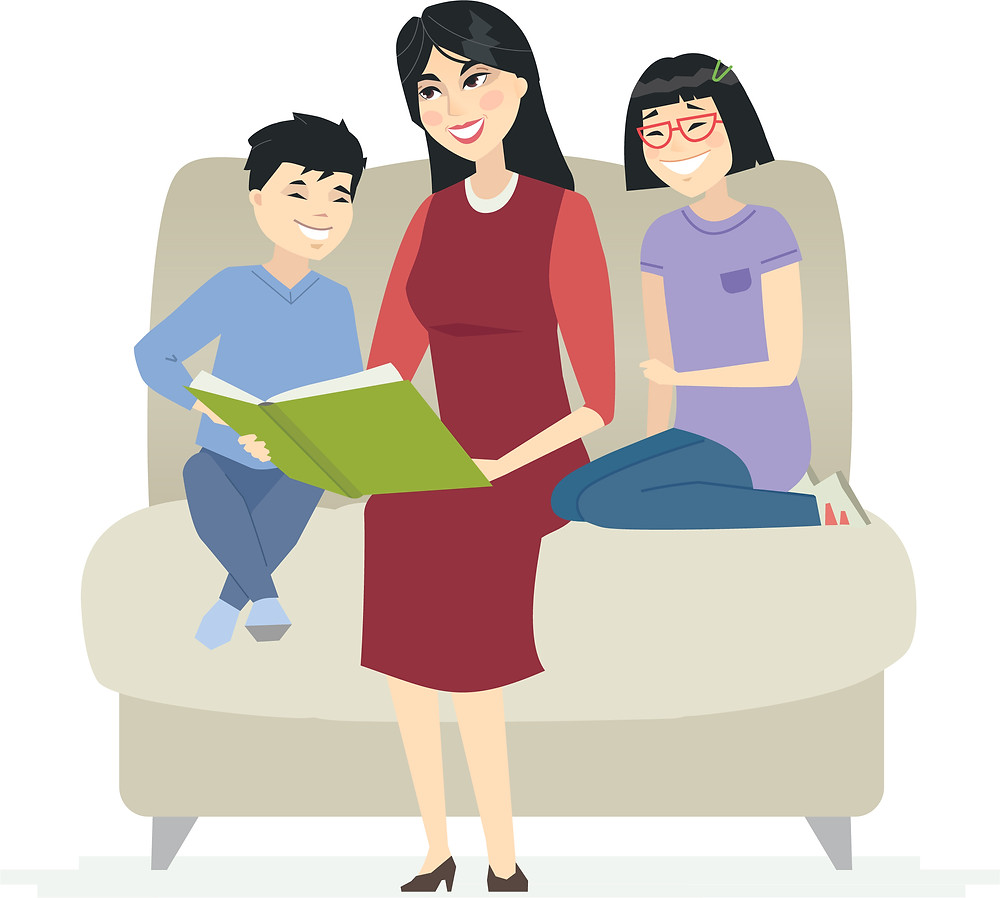 reading together, children and mother, Paolini Method