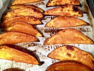 Amazing Roasted Sweet Potato Wedges with Lemongrass Sour Cream