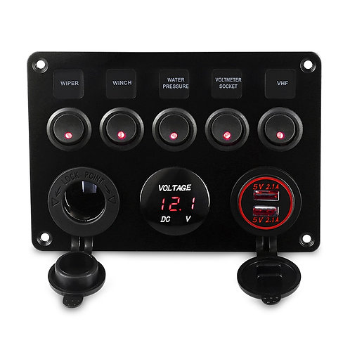 5 Gang Marine Switch Panel Led Waterproof Circuit With Voltmeter Dual USB  12v