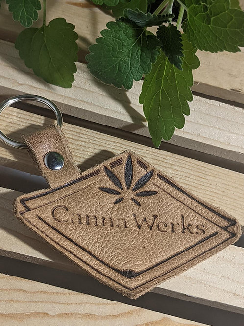 TAN SUEDE LEATHER KEYCHAIN