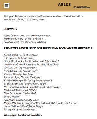 Luma Rencontres Dummy Book Award - Arles 2019 shortlisted ​