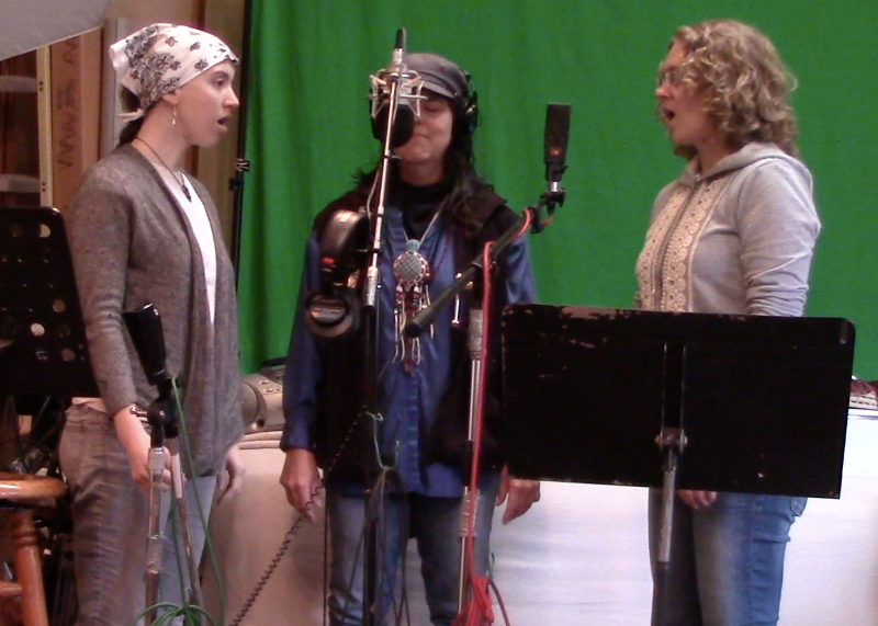 """Alison, Dionne and Kathleen recording vocal intro for """"Spirit Walk"""" Summer 2014"""