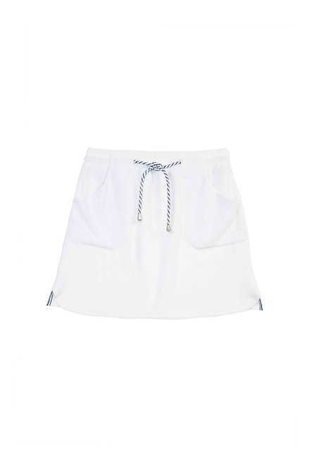 SAINT BARTH jupe en éponge blanche cordon marine et blanc