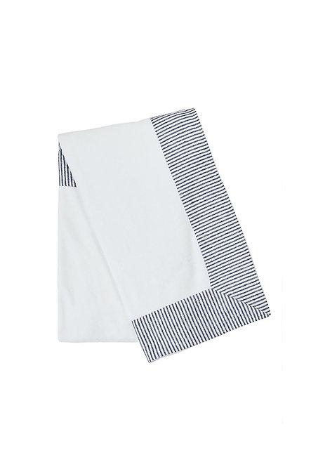 SAINT MALO serviette éponge blanche et rayure marine et blanc