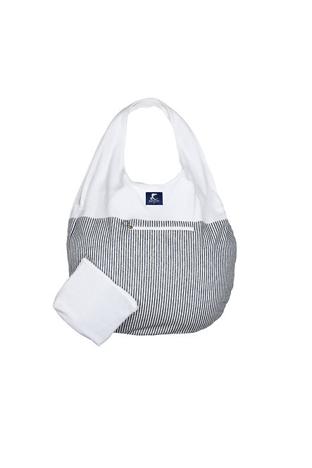 BIJOU sac cabas éponge blanche et rayure marine et blanc