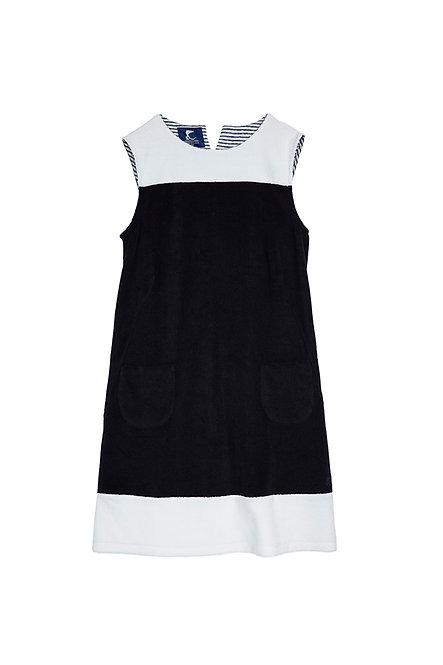 MONTE CARLO robe trapèze bicolore en éponge marine et blanche
