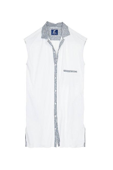 SANTA GIULIA robe chemise pression en éponge blanche et rayure marine et blanc