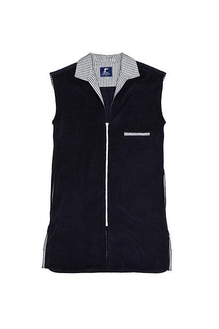 SANTA GIULIA robe chemise zippée en éponge marine et rayure marine et blanc