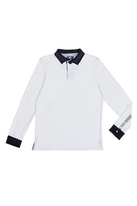MALIBU tee shirt polo manches longues en éponge blanc
