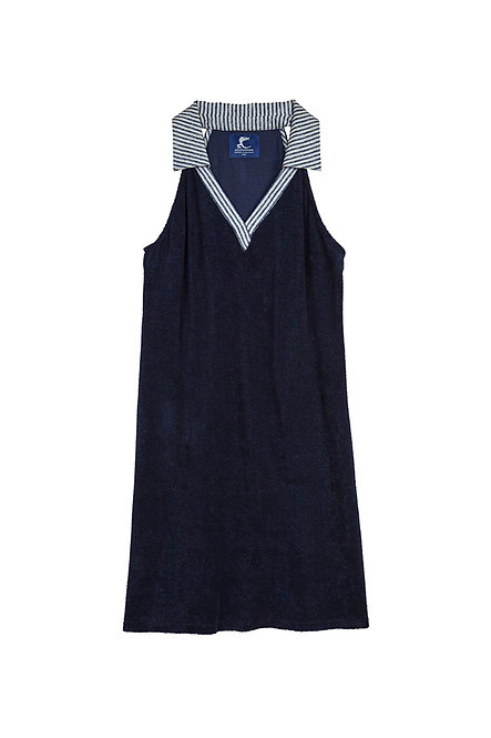 FLORIDA robe polo éponge marine rayure marine et blanc
